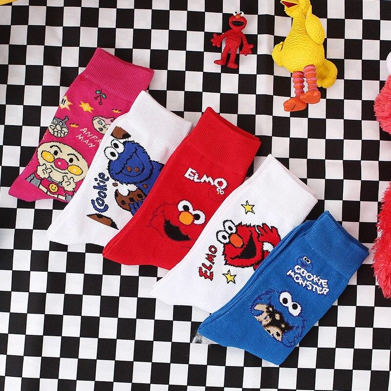 Sesame Street Cartoon Cosplay Socks Pink White Elmo Cookie Monster Novelty Funny Cute Women Socks Autumn Winter Cotton Socks