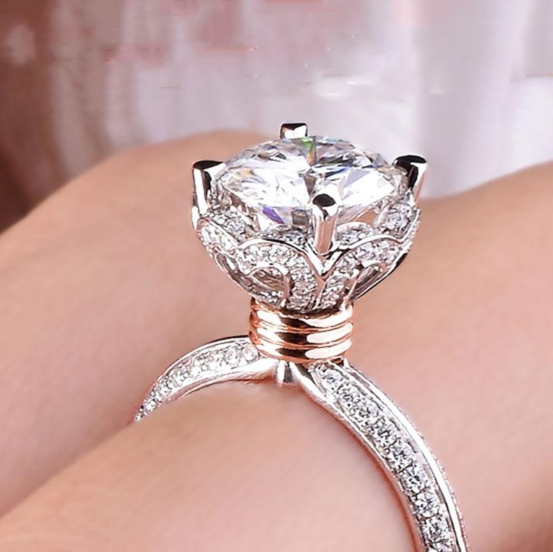 Gold-Ring Moissanite National-Certificate VVS 1ct 14K Wedding with 002 D-Color 100%14k