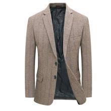 Мужской шерстяной твидовый Блейзер клетчатый пиджак костюм темно