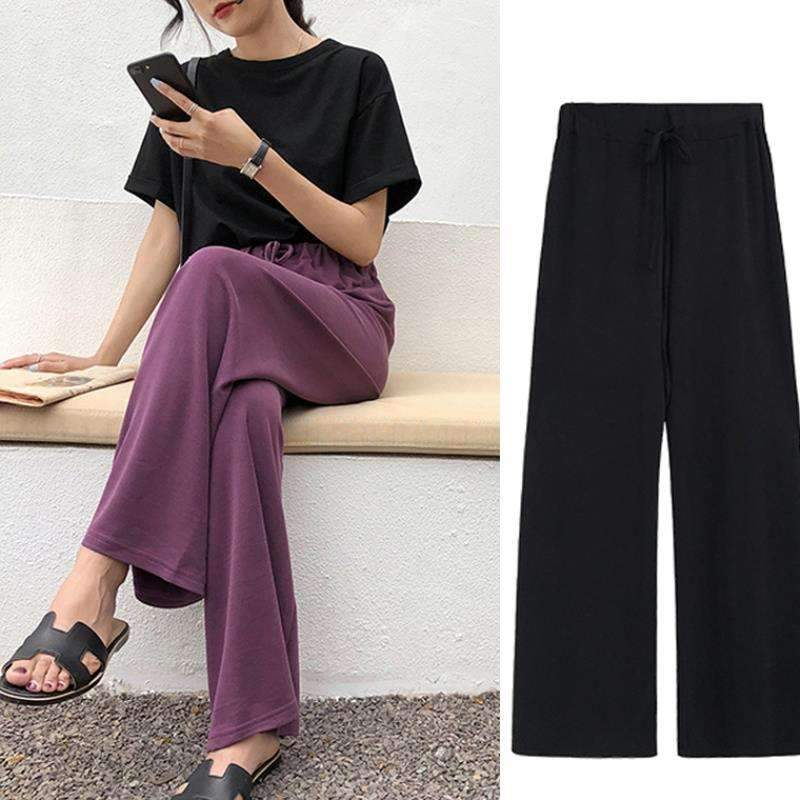 2020 Spring Summer Fashion Female Solid Elastic Waist Loose Wide Leg Pants Women Straight Pants Casual Trousers Plus Size S-5XL