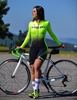 Vezzo manga longa triathlon verão correndo natação ciclismo ciclismo macaquinho feminino mtb roupas equipe pele terno 1