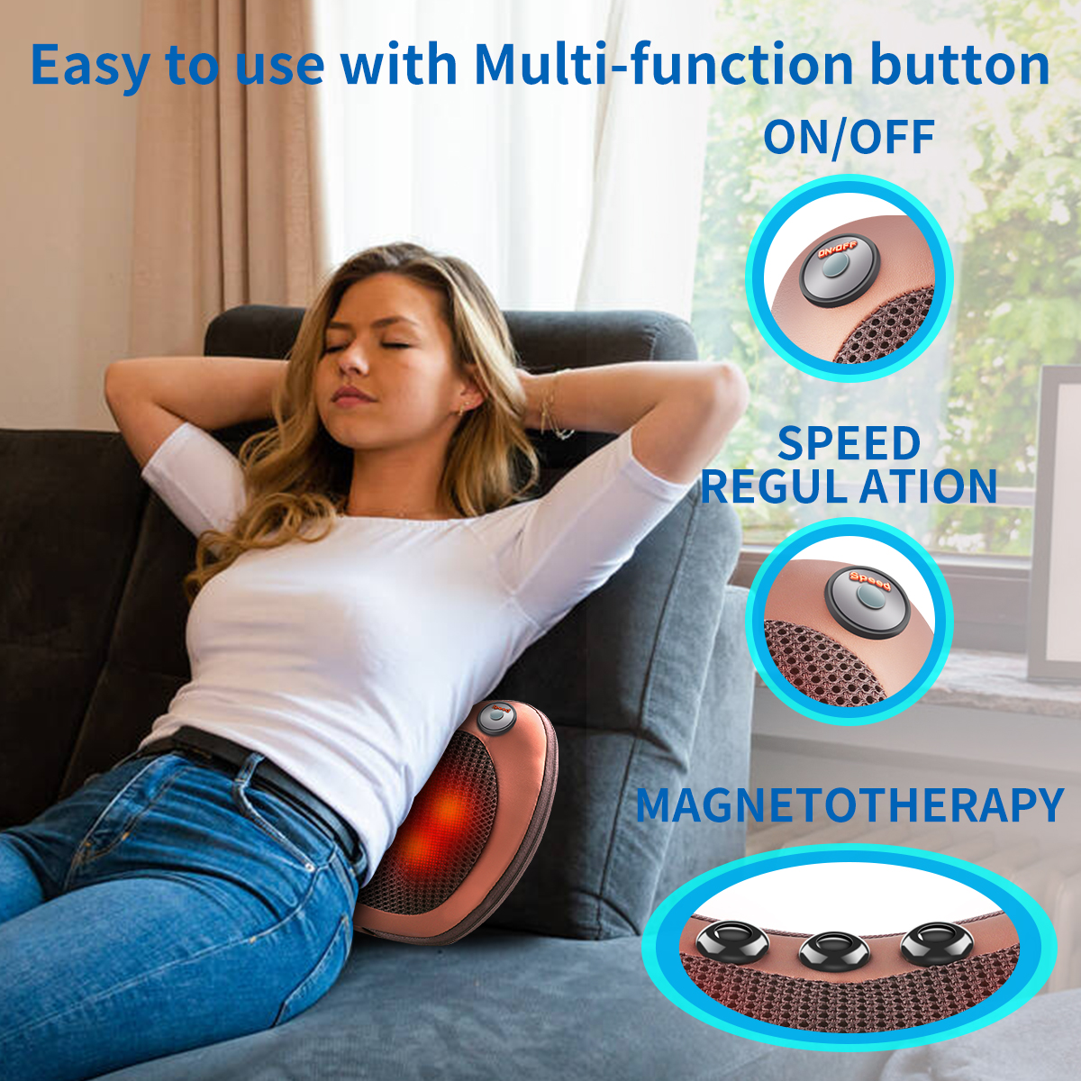 Massage Pillow Relax Vibrator Electric Shoulder Back Heating Kneading Infrared therapy shiatsu Neck Massager