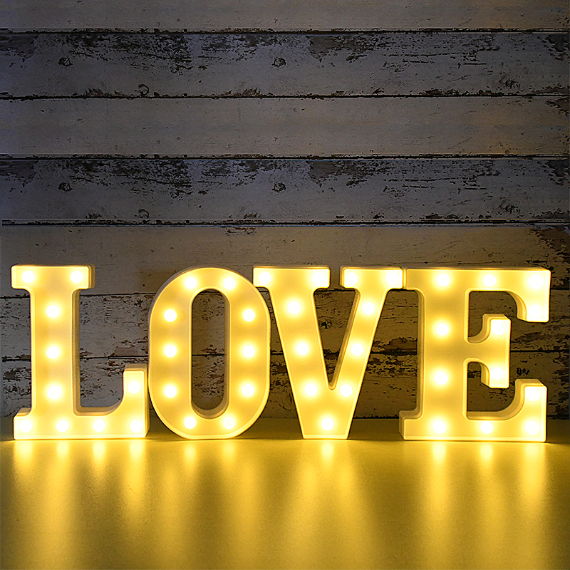 20cm To 16cm LED Letter Night Light Alphabet Light Party Wedding Birthday Decor Valentine's Day Gift Home DIY Decoration