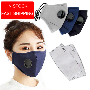 PM2.5 Cotton Black Mouth Mask With Valve Anti-Dust Mask Activated Carbon Filter Windproof Mouth-Muffle Bacteria Flu Face Masks