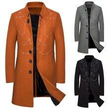 Mens Coat, Long-and-long Casual Windbreake Men Wool Jacket  Coat