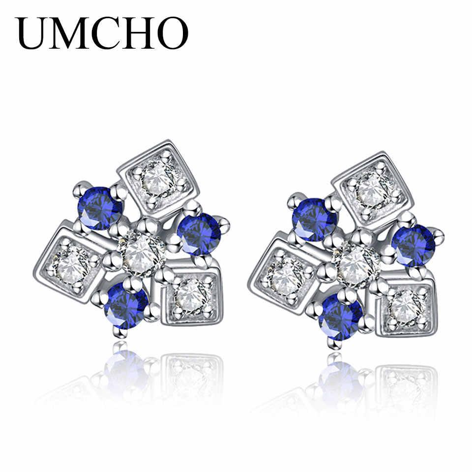 UMCHO niebieski płatek śniegu stałe 925 srebro sześcienne kolczyki z cyrkoniami dla kobiet rocznica urodziny prezenty Fine Jewelry