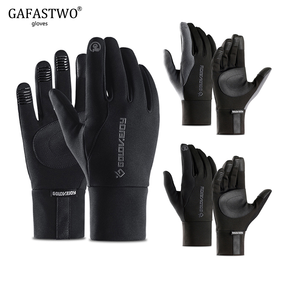 Black Winter Warm Mens Gloves Ladies Fashion Touch Screen Non-Slip Waterproof Hiking Outdoor Riding Windproof Women Gloves