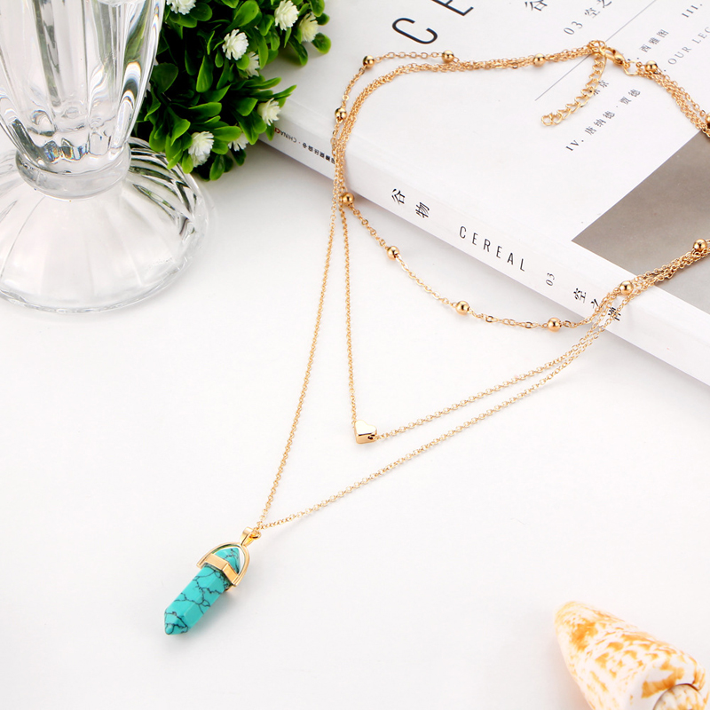 NEW Vintage Opal Stone Chokers Necklaces Fashion Multi Layer Crystal Heart Pendant Necklace Statement Bohemian Jewelry for Women   Aalamey Shop