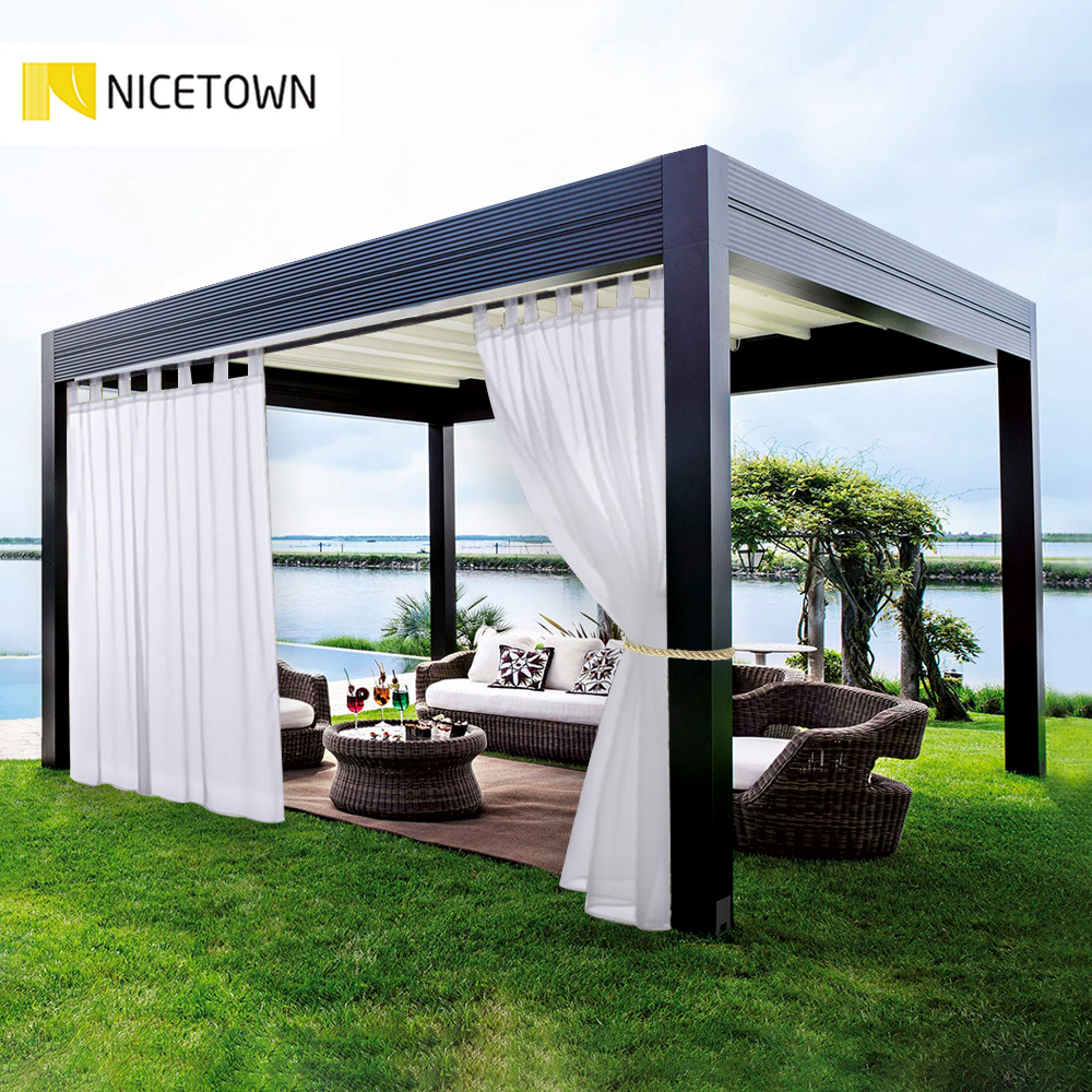 nicetown double sheer curtains panels for patio garden tab top waterproof outdoor indoor privacy voile drapes with 2 bonus ropes