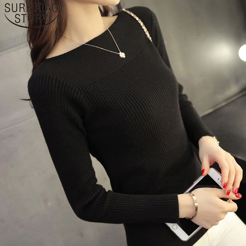 Korean Autumn Winter Solid Women Collar Sweater All-match Long Sleeved Shirt Slim One-neck Female Thread Tight Pullover 6737 50