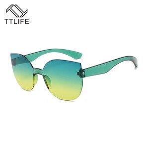 Image 5 - TTLIFE 새로운 패션 여성 고양이 눈 선글라스 럭셔리 브랜드 디자이너 태양 안경 캔디 컬러 미러 안경 Oculos 드 솔 YJHH0207