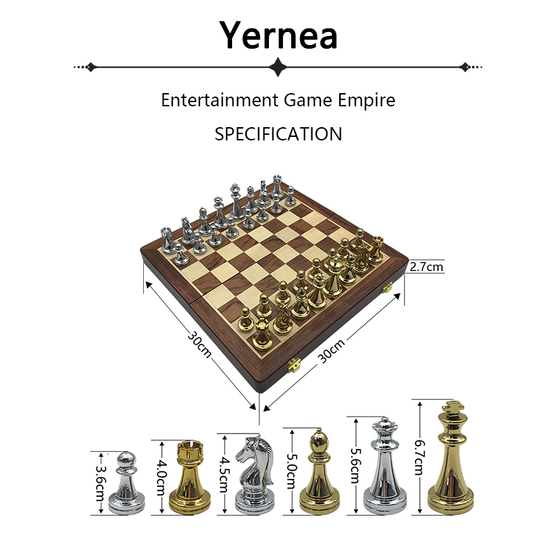 New Wooden Folding Chessboard Retro Metal Alloy Chess Pieces Chess Game Set High Quality Chessboard Gift Entertainment Yernea 2