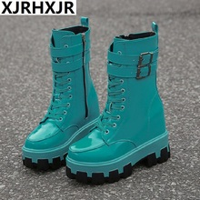 Punk Boots Women Patent Leather Platform Chunky Sneakers Autumn 10CM