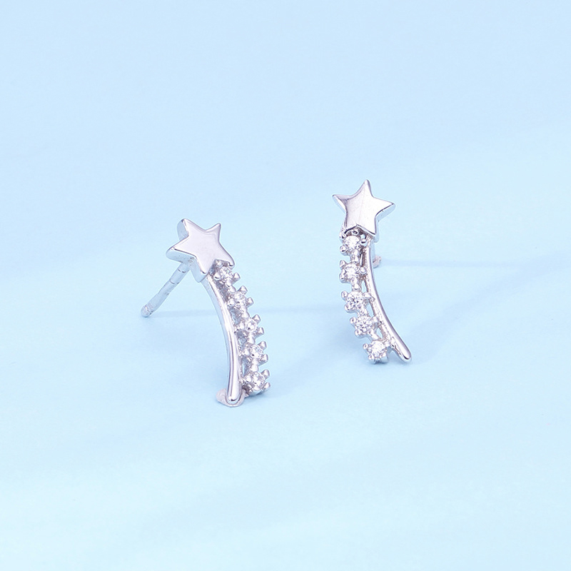 MloveAcc Romantic Real 925 Sterling Silver Zircon Star Stud Earrings for Women Girl Friend Trendy Accessories Jewelry Gift