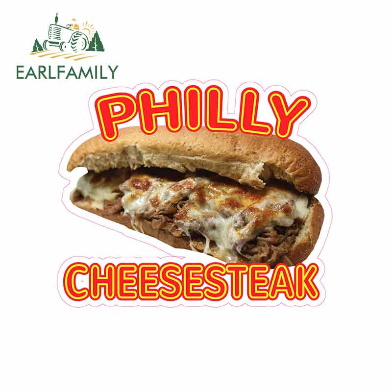 EARLFAMILY 13cm x 10.6cm For Philly Cheesesteak Funny Car Stickers Cartoon Vinyl Decal Sticker Car Truck Pinup SUV Decoration image