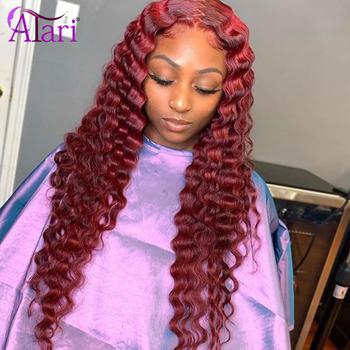99J czerwone peruki głęboka fala Frontal peruka kolorowe peruki z ludzkich włosów dla czarnych kobiet brazylijski włosy peruki wstępnie oskubane Virgin koronkowe peruki tanie i dobre opinie ATARI long Koronki przodu peruk Część koronki CN (pochodzenie) Remy włosy Ludzki włos Pół maszyny wykonane i pół ręcznie wiązanej