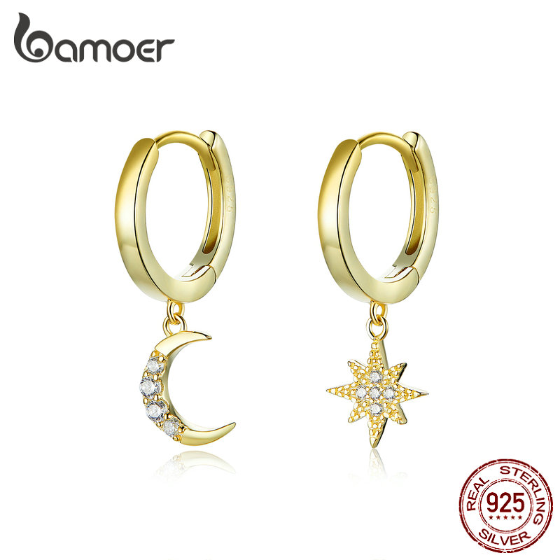 bamoer Genuine 925 Sterling Silver Moon and Star Dangle Earrings with Charm Clear CZ Gold Color Jewelry 2020 New Bijoux SCE785(China)