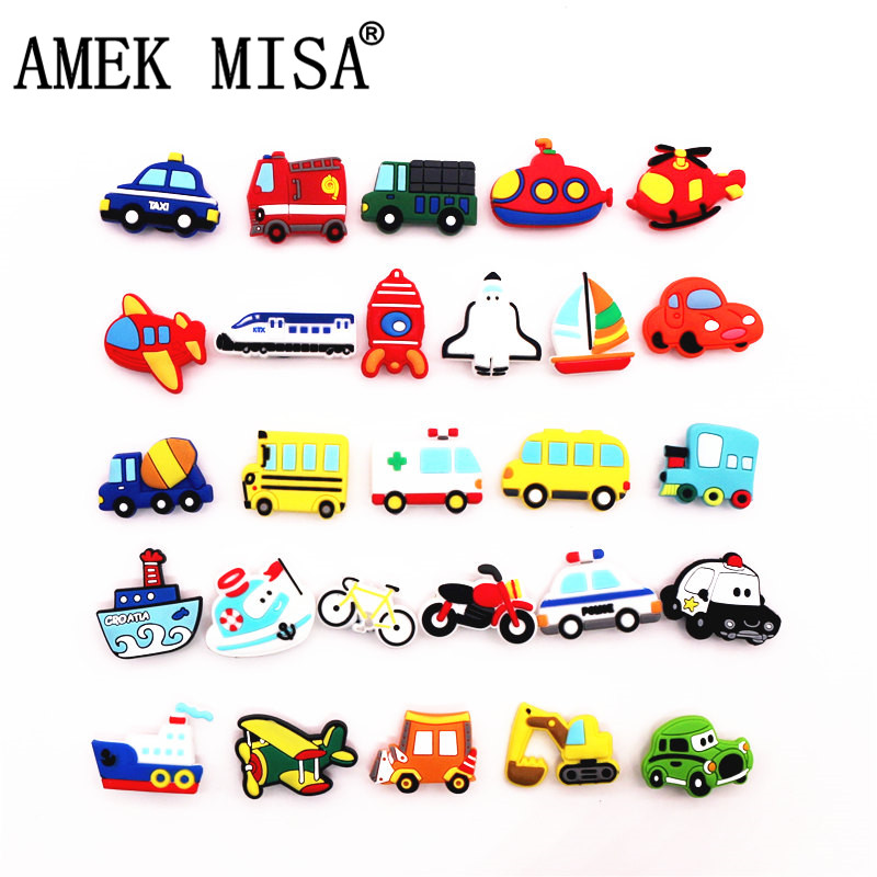Single Sale 1pc Means Of Transportation Model PVC Shoe Charms Decoration Shoe Accessories For Croc Jibz Kids Party X-mas Gift