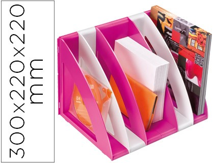 MAGAZINE CEP PLASTIC MODULAR WITH 5 COMPARTMENTS WHITE COLOR AND ROSE 300X220X220 MM