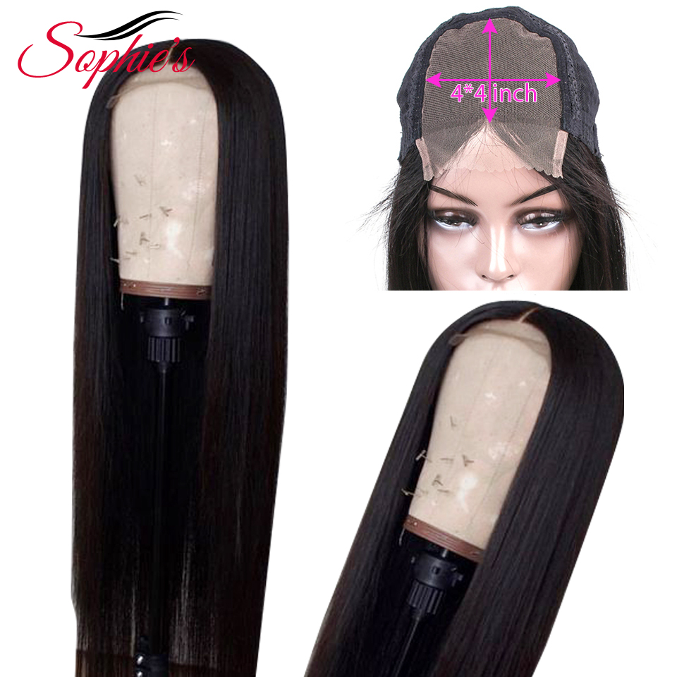 Sophie's Brazilian 4*4 Lace Closure Human Hair Wigs For Black Women Non-Remy Hair Straight Lace Wigs With Baby Hair Lace Closure