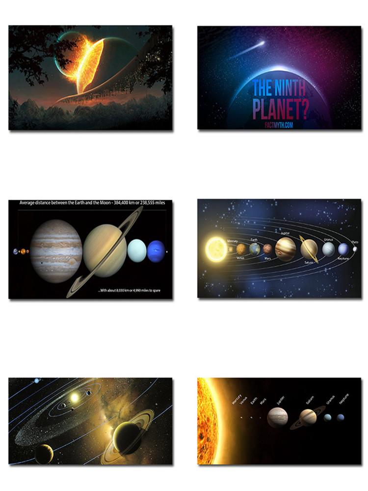 Solar System Silk Painting Poster Milky Way Galaxy Space Stars Art Print Science Wall Pictures For Office Living Room Home Decor