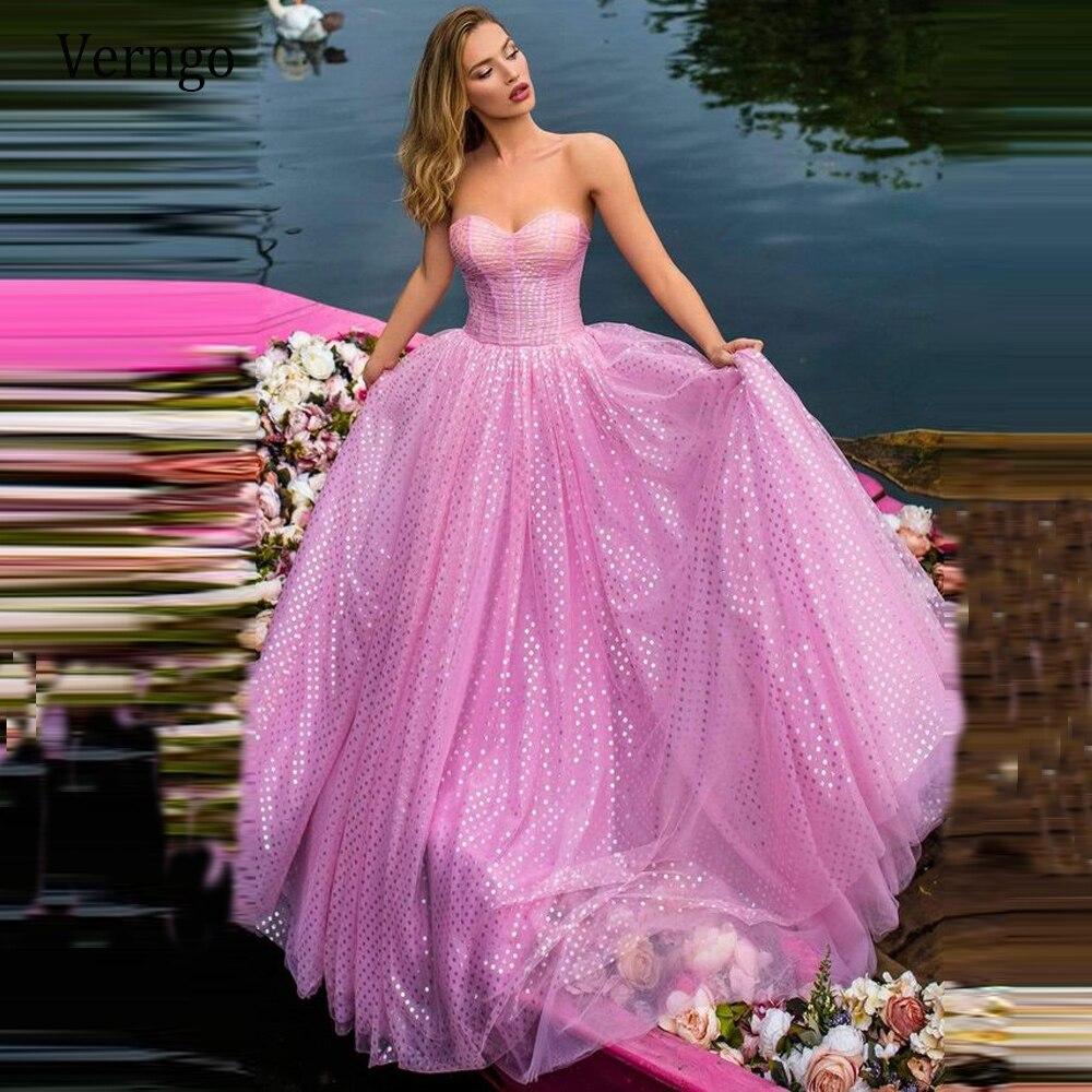 Купить вечернее платье в горошек verngo длинное розовое трапециевидное