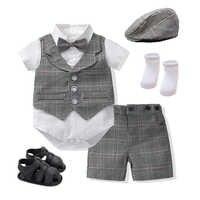 De moda bebé niño traje elegante conjunto de trajes de ropa infantil cumpleaños fiesta vestidos de bebé recién nacido traje de chaleco a cuadros + mameluco + Pantalones + arco