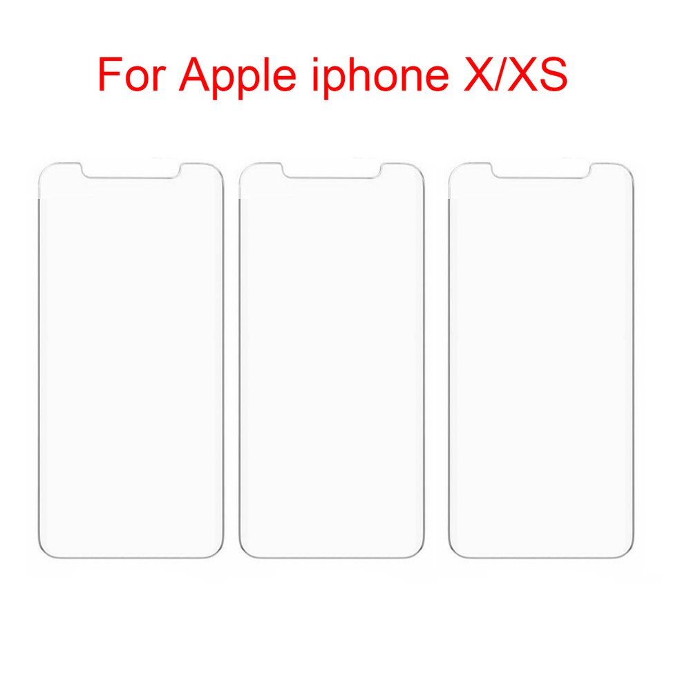 3Pcs Full Cover Glass on the For iPhone X XS Max XR Tempered Glass For iPhone 7 8 6 6s Plus 5 5S SE Screen Protector Film image