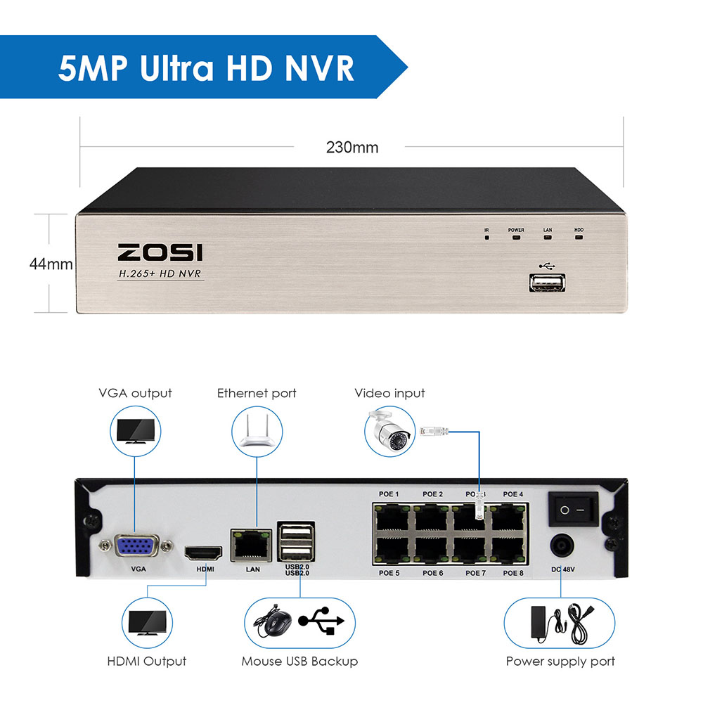 ZOSI H.265 CCTV NVR Security Video Surveillance Recorder 8CH 2MP/5MP Output Motion Detect for ZOSI POE IP Camera image