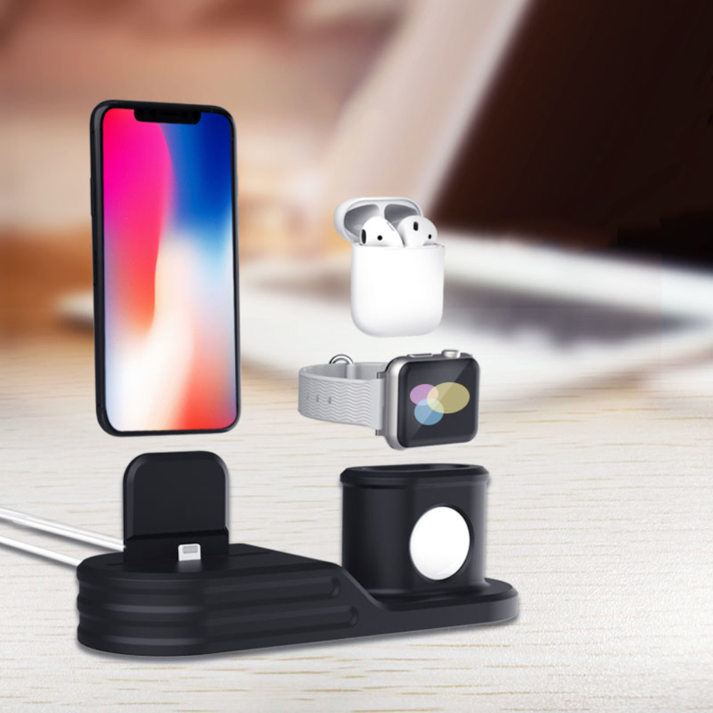 Charging Dock Charger 3 In 1 For Iphone X XR XS MAX 8 7 6 Charging Dock Silicone Docking Station For Apple Watch Airpods 2 3 4