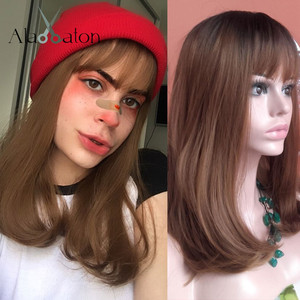 Image 5 - ALAN EATON Ombre Black Light Blonde Synthetic Wigs Long Straight Women Wigs with Bangs Bobo Wigs Natural High Temperature Fiber