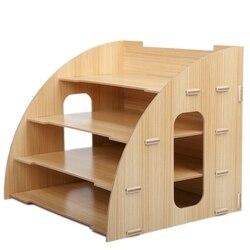 Sektor kreatywny pulpit Organizer na dokumenty drewno teczka na dokumenty pojemnik na katalogi 4 warstwy do użytku biurowego artykuły biurowe