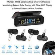 KKMOON TPMS система контроля давления в шинах 4 внутренних датчика функция сигнализации беспроводной солнечной энергии ЖК-дисплей