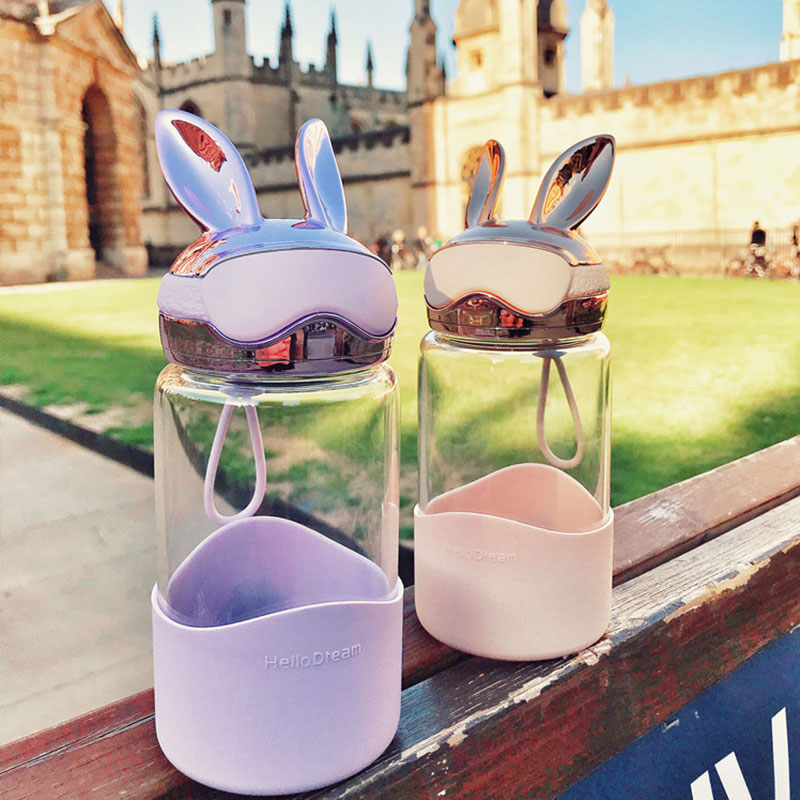 RUIDA Cartoon Glass Water Bottle Rabbit Pilot Travel Outdoor Portable Water Bottles Fashion Drinkware Couples Cup Girl Gifts