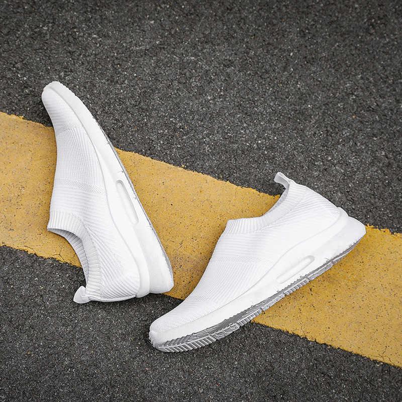 Işık koşu ayakkabıları erkekler 400g kadınlar koşu ayakkabıları nefes erkek ayakkabıları Loafer üzerinde kayma ayakkabı erkek boyutu 46 DropShipping