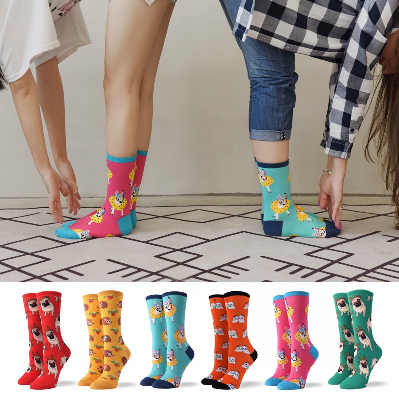 Hot Sale Colorful Women's Cotton Crew   Socks   Funny Corgi Dog Flamingo Animal Pattern Creative Ladies Novelty   Socks   For Gifts