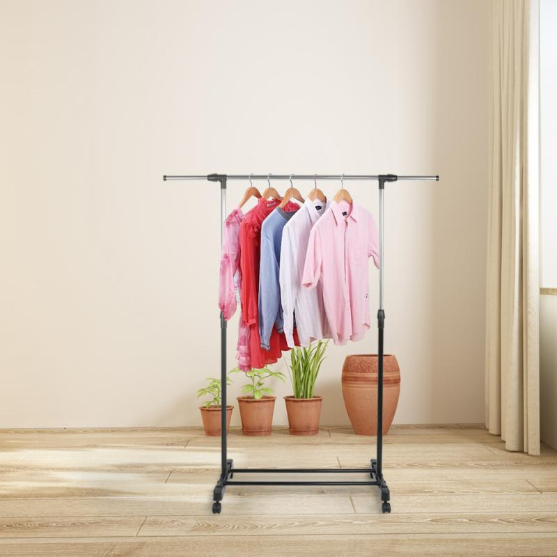 Stainless Steel Floor Stand Coat Rack Retractable Wardrobe Clothing Drying Racks Removable Clothes Hanging Hanger Wheels HWC