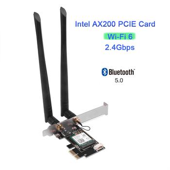Kebidu dwuzakresowy pulpit bezprzewodowy PCIe do karty Intel AX200 Pro 802 11ax 2 4G 5Ghz Bluetooth 5 0 PCI Express WiFi 6 Adapter tanie i dobre opinie 10 100 1000 mbps Wewnętrzny wireless ETHERNET Dual Band Wireless Desktop 802 11n 802 11ac 50 cm 2 4G i 5G