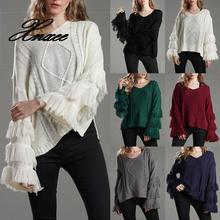 Xnxee Autumn Women Solid Color Tassels Flared Sleeves Knitted Sweater Pullover V Neck Loose Sweater Outwear Knit Ladies Sweaters black round neck flared sleeves blouse