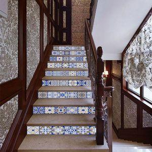 Image 4 - 13 ピース/セット 3D 階段ライザー床ステッカー防水自己粘着 diy 階段壁画家の装飾 X4YD