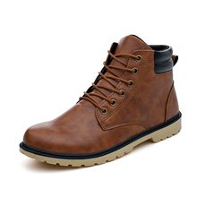 2019 mannen PU Lederen Rijden Paardensport Laarzen Man Outdoor Waterdichte Motorlaarzen Enkel Lace-up Fashion Casual Classics(China)