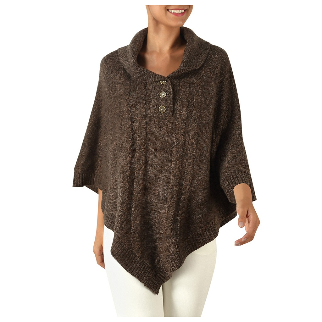 Fashion Women Knitted Sweater Shawl Casual Poncho Cloak Pullovers Tops Winter