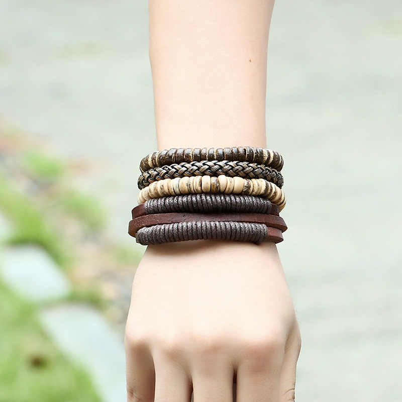 1pcs Womens Mens Wrap Multilayer Genuine Leather Rope Bracelet Chain With Charms