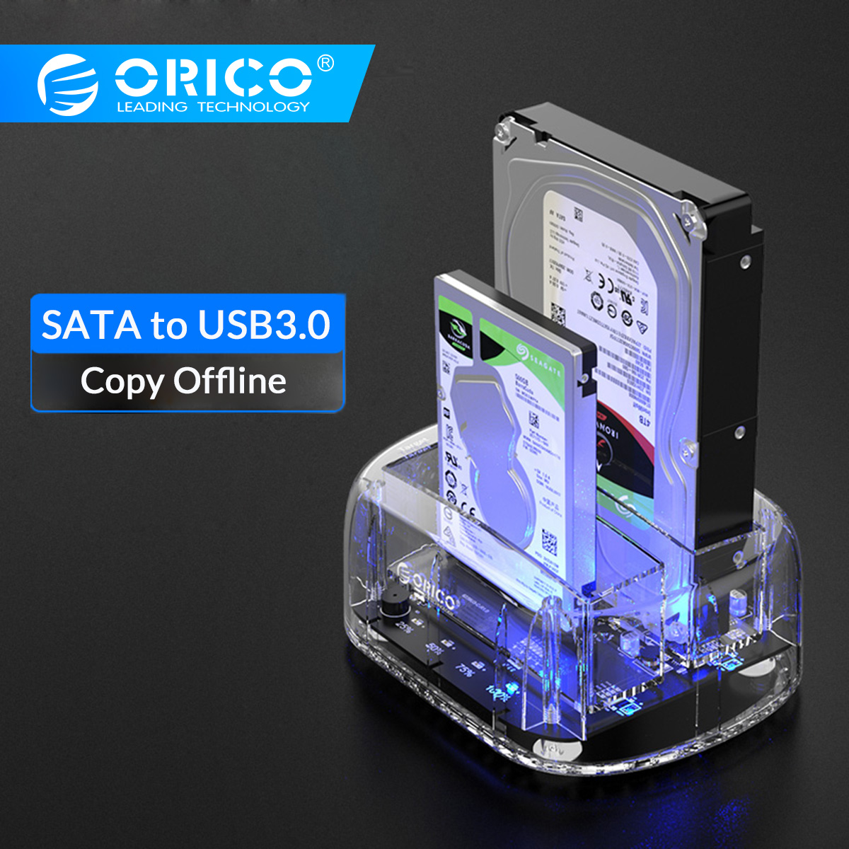 ORICO 2 Bay 2.5/3.5 Inch USB3.0 HDD Case Transparent Hard Drive Enclosure With Offline Clone Support 24TB UASP HDD Dock Station