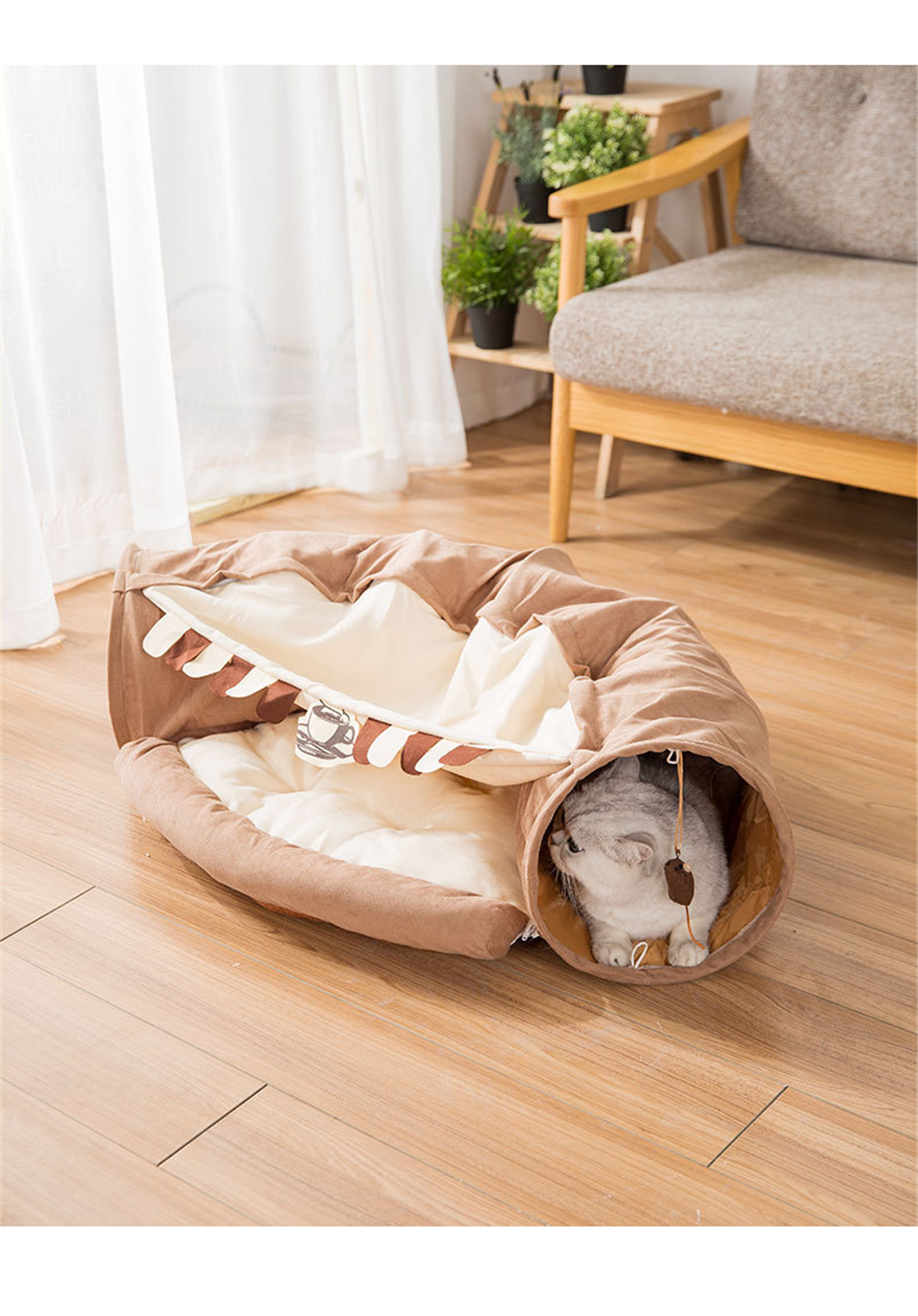 Funny Cat Tunnel bed Collapsible Crinkle Pet tent Kitten Puppy  Ferrets Rabbit interactive Toys 2 holes Tunnel  Pet cat nest 14