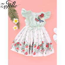 ZAFILE Summer Floral Flare Sleeve Dress Baby Girl Clothes Kids Toddler Girls Clothing Princess Dress  Baby Kids Toddler Sundress lovely toddler kids baby girls pumpkin floral dress party short sleeve dress sundress halloween cute clothes summer suit