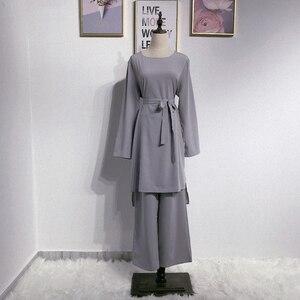 Image 5 - アバヤドバイイスラム教徒ヒジャーブドレスカフタンarabes mujerカフタントルコイスラムの服アンサンブルファムmusulmane 2個