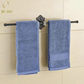 Czarne wieszaki na ręczniki pojedyncza szyna mosiężna półka ścienna uchwyt na ręczniki wieszaki na ręczniki półki łazienkowe akcesoria łazienkowe wieszak na ręczniki B70 tanie i dobre opinie JIE MO Miedzi Mosiądz Pierścienie ręcznik