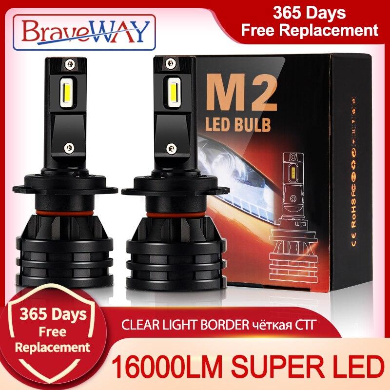 BraveWAY Car Lights H4 LED H7 16000LM H1 H3 H8 H11 LED Atuo Lamp for Car Headlight Bulb HB3 HB4 9005 9006 Turbo LED Bulbs 12V