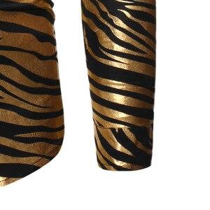 Image 4 - Mens 70s Metallic Gold Zebra Print Disco Shirt 2019 Brand New Slim Fit Long Sleeve Mens Dress Shirts Party Prom Stage Chemise